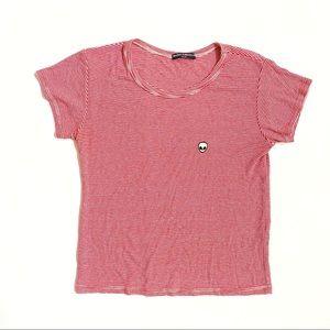 Brandy Melville alien patch red white stripe Shirt